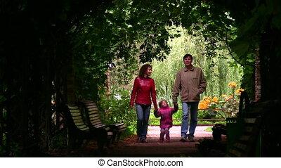 tunnel, plante, silhouette, famille