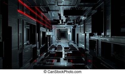 tunnel, vj, intérieur, futuriste, high-tech