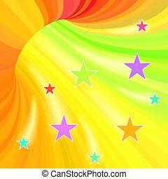 tunnel, voler, raies, stars., multicolore, fond