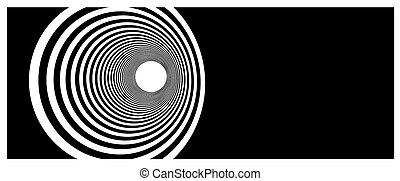tunnel, vortex, noir, blanc