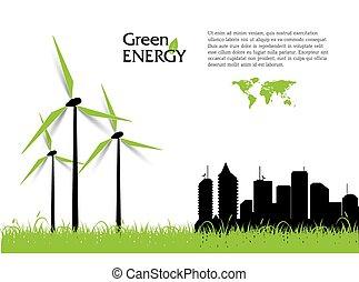 turbines, énergie, créatif, vecteur, vert, concept., vent