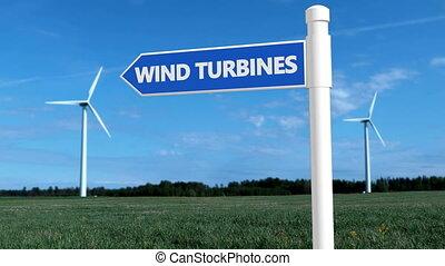 turbines, concept, bleu, couleurs, blanc, poteau indicateur, vent
