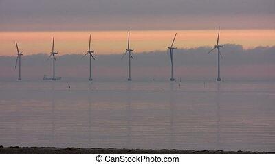 turbines, vent, aube, océan, af