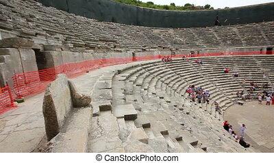 turquie, ancien, aspendos, amphithéâtre