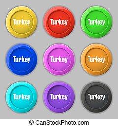 turquie, buttons., signe., symbole, vecteur, neuf, coloré, rond, icône