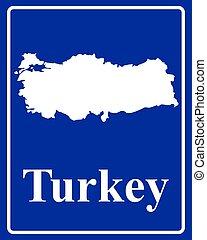 turquie, carte, silhouette