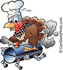 turquie, gril, thanksgiving, illustration, chef cuistot, vecteur, équitation, baril, dessin animé, barbecue