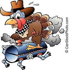 turquie, gril, thanksgiving, illustration, vecteur, équitation, baril, dessin animé, barbecue