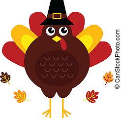turquie, mignon, thanksgiving, isolé, retro, chapeau blanc
