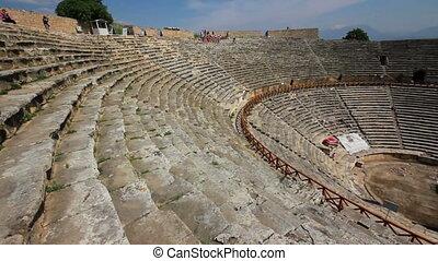 turquie, pamukkale, ancien, amphithéâtre