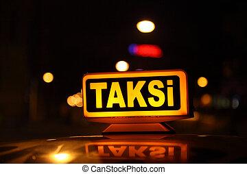 turquie, taxi jaune, istanbul, signe
