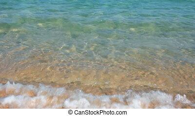 turquoise, eau, mer sable, vagues, plage