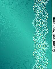 turquoise, fond, tourbillons, délicat, marge