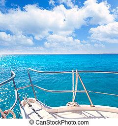 turquoise, idyllique, exotique, y, plage, ancre, bateau
