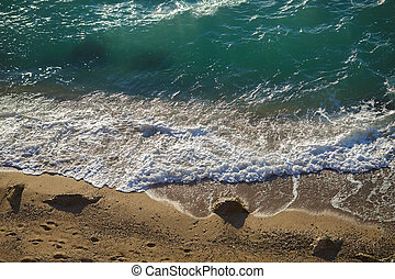 turquoise, lapping, sable, transparent, vagues