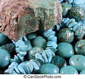 turquoise, perles, rocher