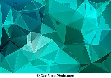 turquoise, tailles, aléatoire, poly, vert, bas, fond