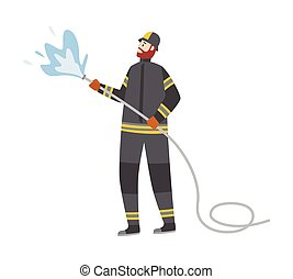 tuyau, brûler, isolé, combat, pompier, dessin animé, vecteur, illustration, plat, eau