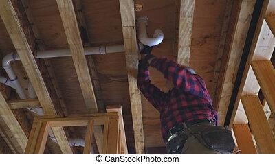 tuyau, colle, plastique, monter, construction, nouveau, sous, drain, blanc, plombier