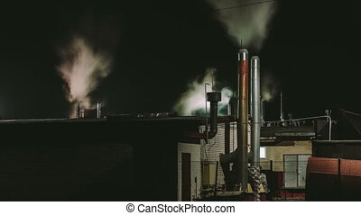 tuyau, emits, usine, fumée, nuit