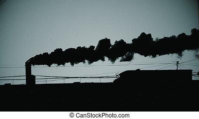 tuyau, fumée, levers de soleil