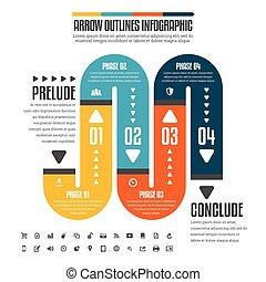 tuyau, plat, infographic