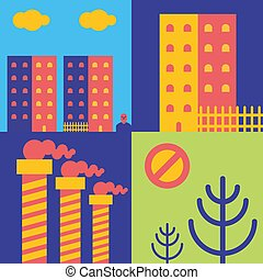 tuyau, town., house., usine, champignons, forêt, taudis