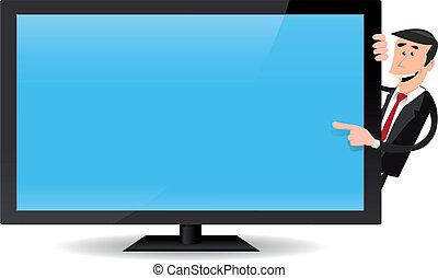 tv, écran plat visualisation, pointage, homme
