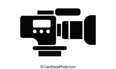 tv, animation, appareil photo, icône