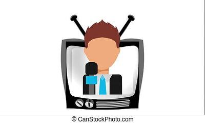 tv, animation, vidéo, conception, icône