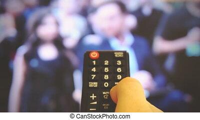 tv., canaux, commutation, homme