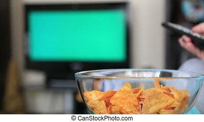 tv, femme, chromakey, regarder