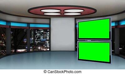 tv, fond, boucle, vert, -, studio, ensemble, écran, education, 19, virtuel