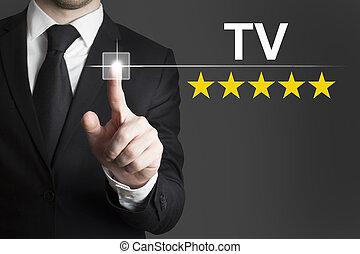 tv, homme affaires, poussée bouton