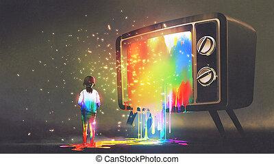 tv, messed, girl, lumière colorée