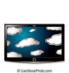 tv, pendre, lcd, nuages