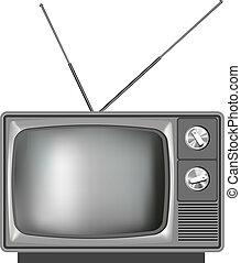 tv, réaliste, tã©lã©viseur, vieux, illustration