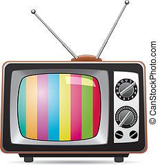 tv, retro, illustration, ensemble, vecteur