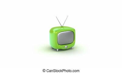 tv, set., vert, retro, isolé