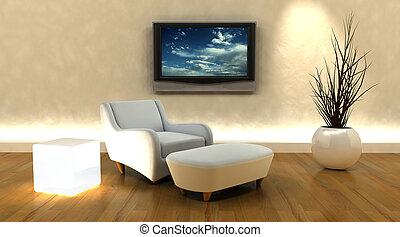 tv, sofa, render, 3d