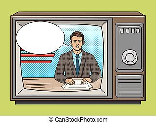tv, style, présentateur, art, nouvelles, vecteur, pop