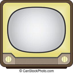 tv, vendange, vecteur