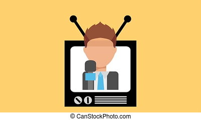 tv, vidéo, animation, icône, conception