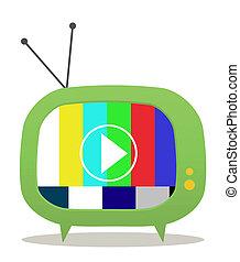 tv, vieux, vert