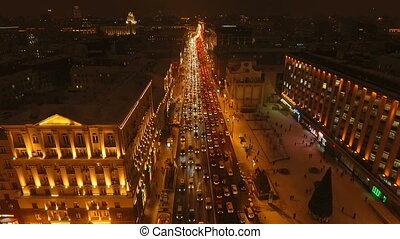 tverskaya, rue, vue, hiver, nuit