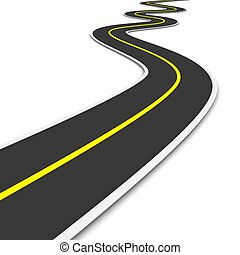 twisty, 3d, rendu, illustration., road.