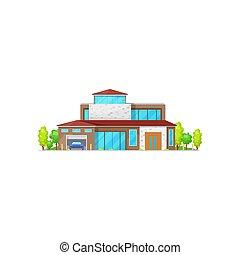 two-storied, bâtiment, maison, petite maison, ou, villa, icône