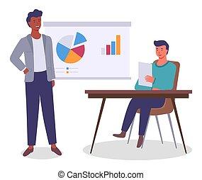 type, analytique, hommes, collègues., données, bureau., table, planche, moniteur, réunion