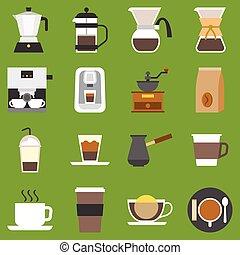 type, café, vecteur, co, méthode