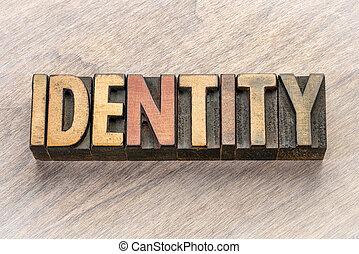 type, résumé, bois, mot, identité